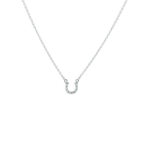Brushed Silver Horseshoe Necklace