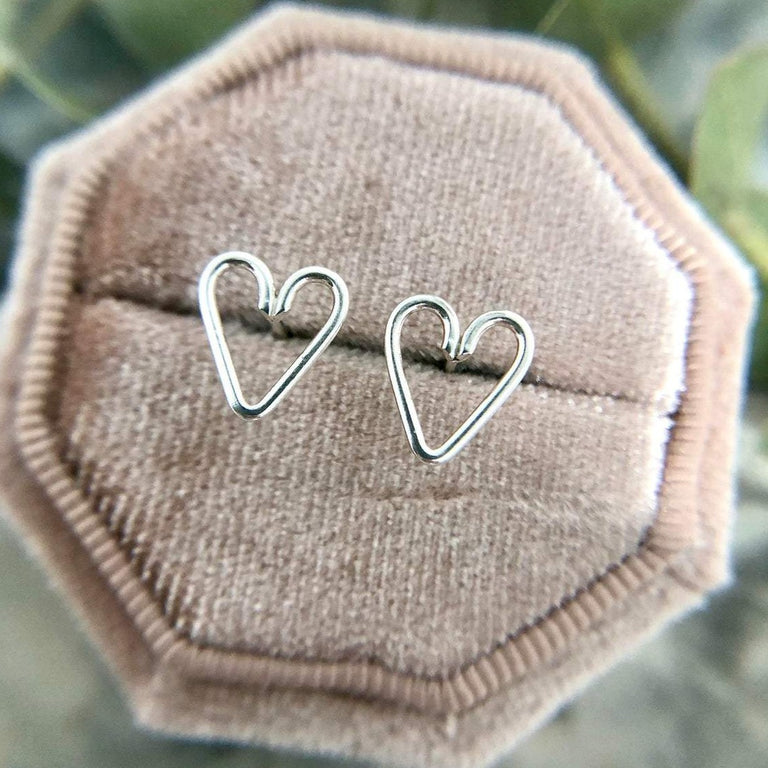 Wire Heart Studs | Magpie Jewellery-Silver