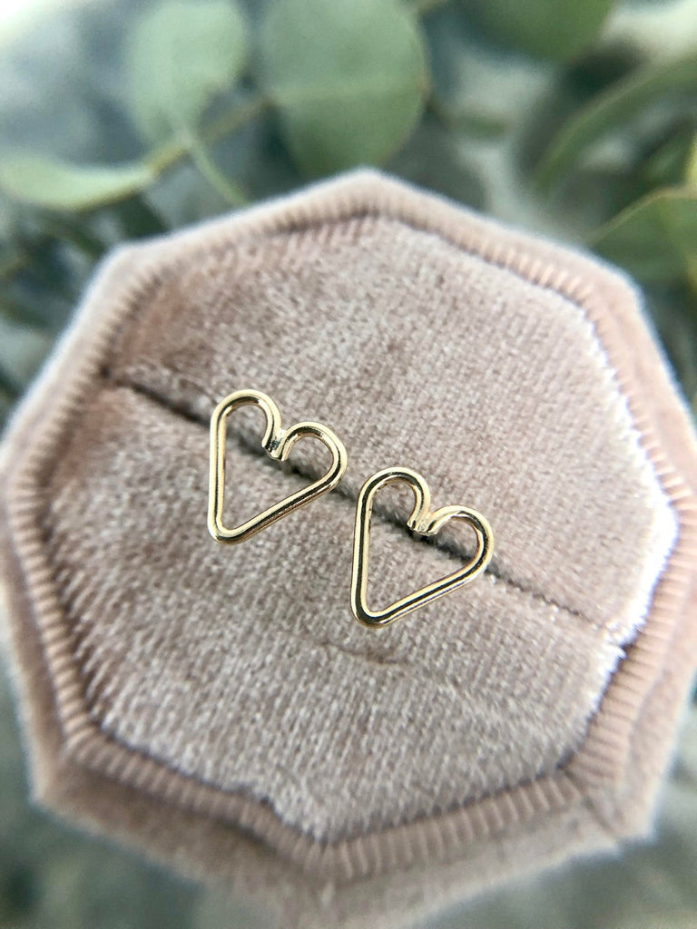Wire Heart Studs | Magpie Jewellery-14k Gold