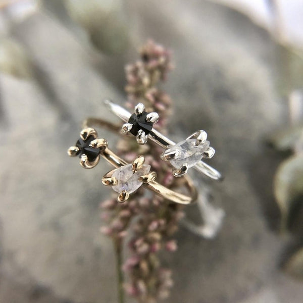Moonstone & Black Spinel Ring