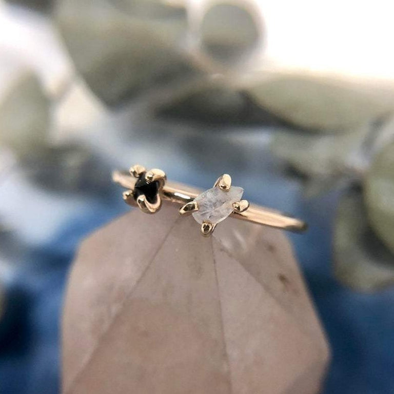 14k Yellow Gold Moonstone & Black Spinel Ring | Magpie Jewellery