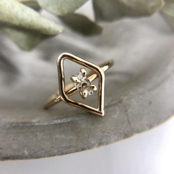Gold Herkimer Diamond Shaped Ring