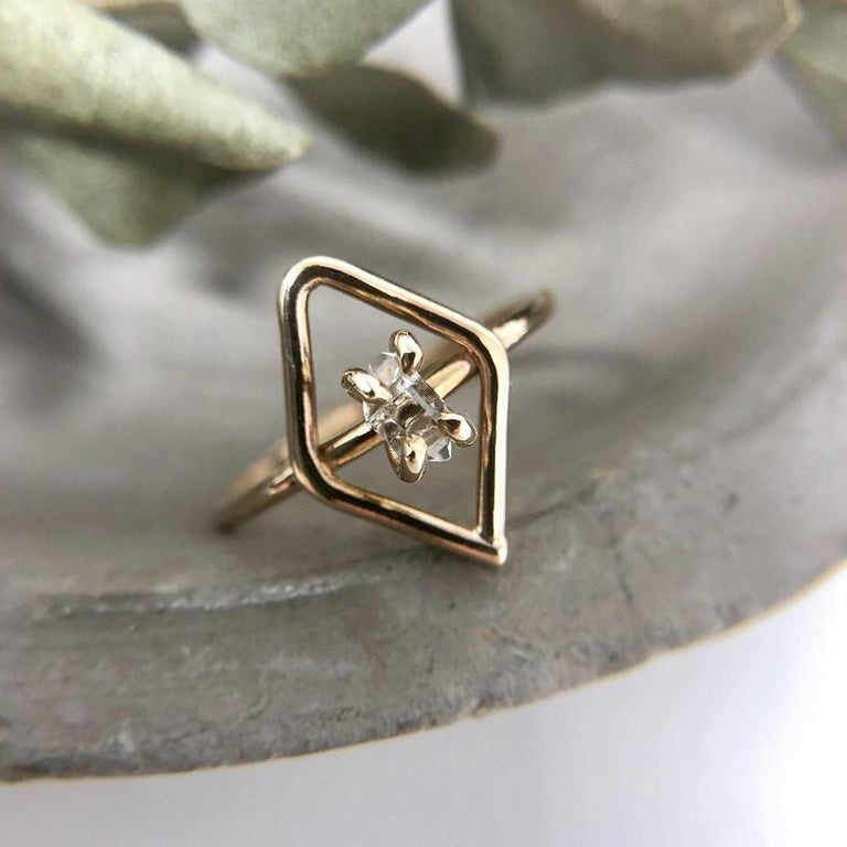 14k Yellow Gold Herkimer Diamond Shaped Ring | Magpie Jewellery