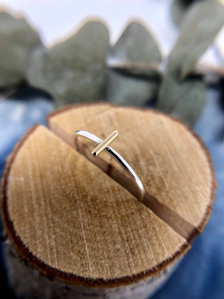 Mixed Metal Line Ring | Magpie Jewellery