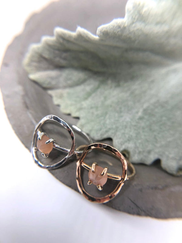 Peach Moonstone Circle Ring | Magpie Jewellery