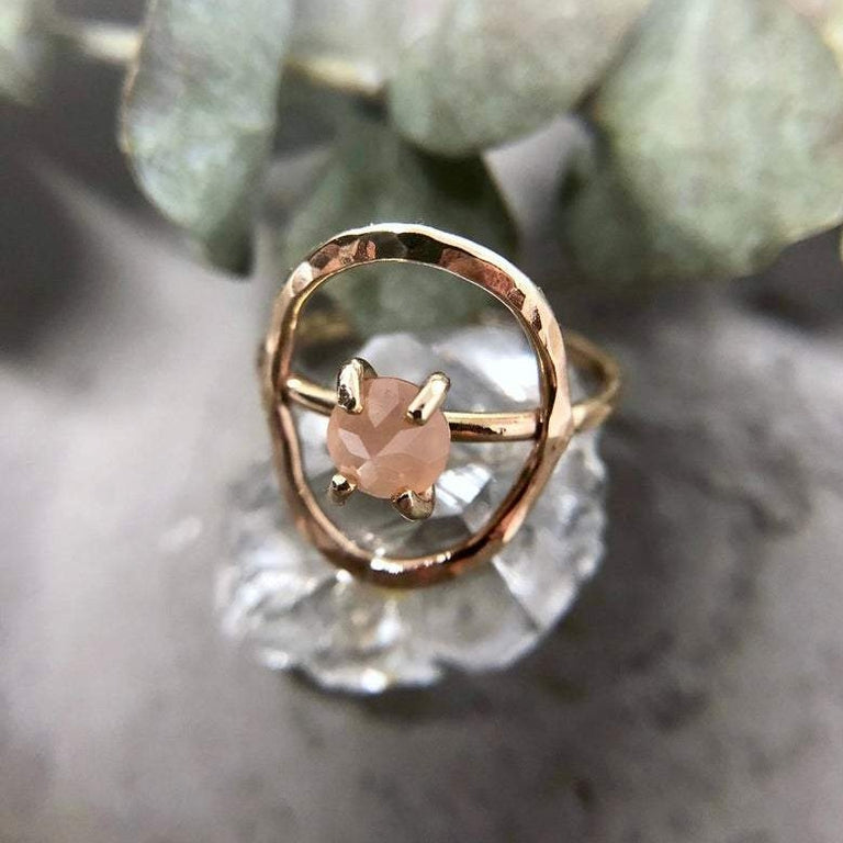14k Yellow Gold Peach Moonstone Circle Ring | Magpie Jewellery