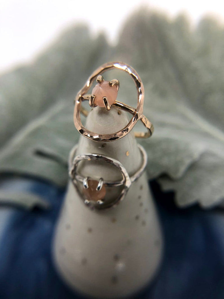 Peach Moonstone Circle Ring