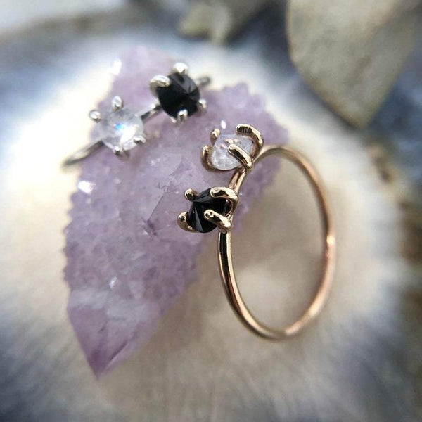 14k Yellow Gold Spinel + Moonstone Ring | Magpie Jewellery