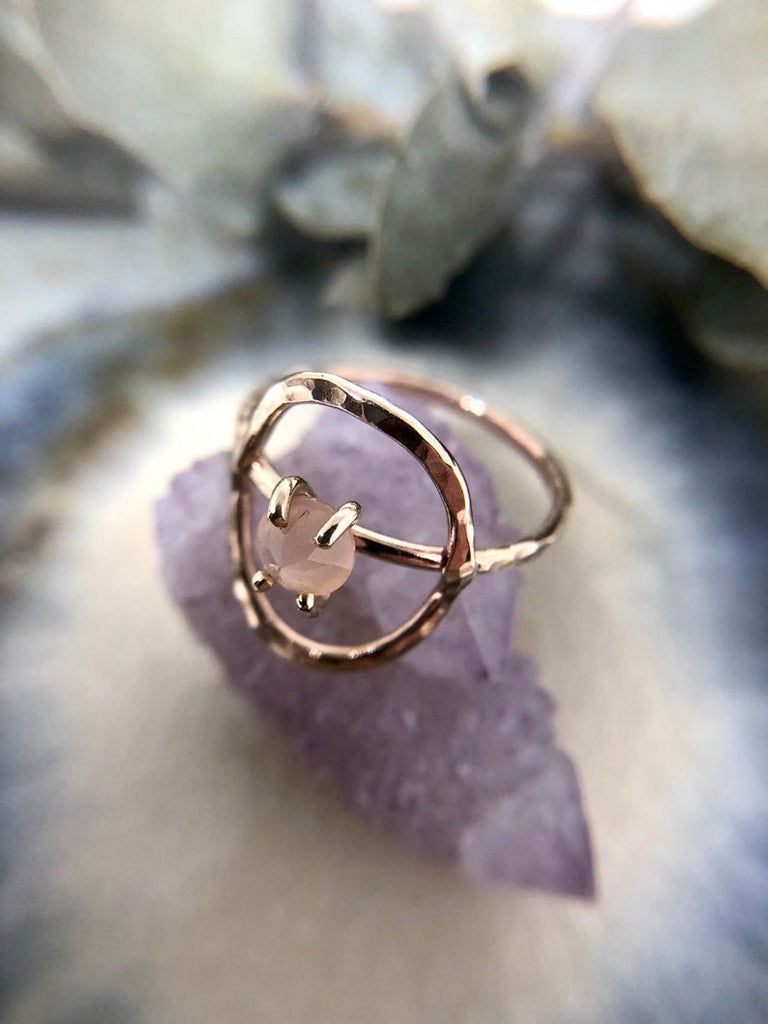 Gold Peach Moonstone Circle Ring