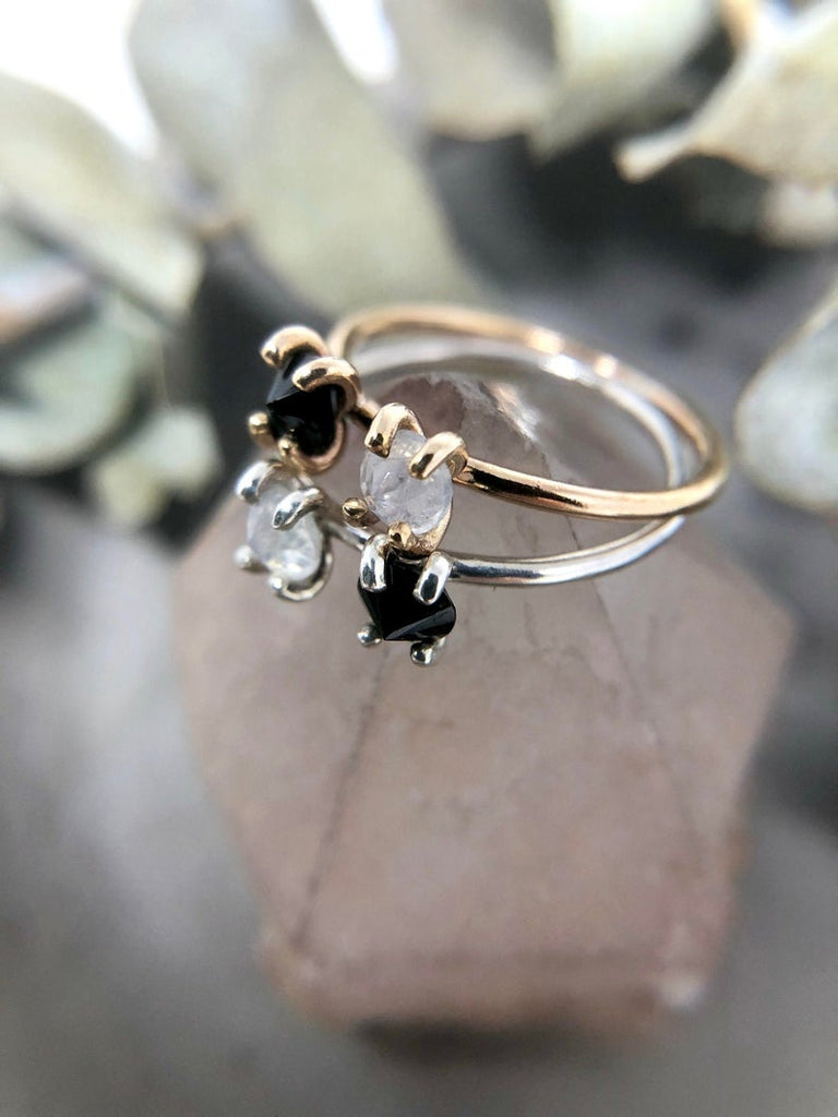 14k Yellow Gold Spinel + Moonstone Ring