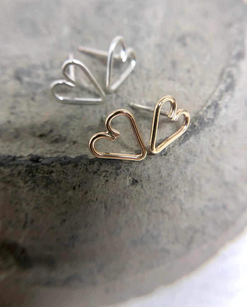 Wire Heart Studs | Magpie Jewellery-Gold-fill