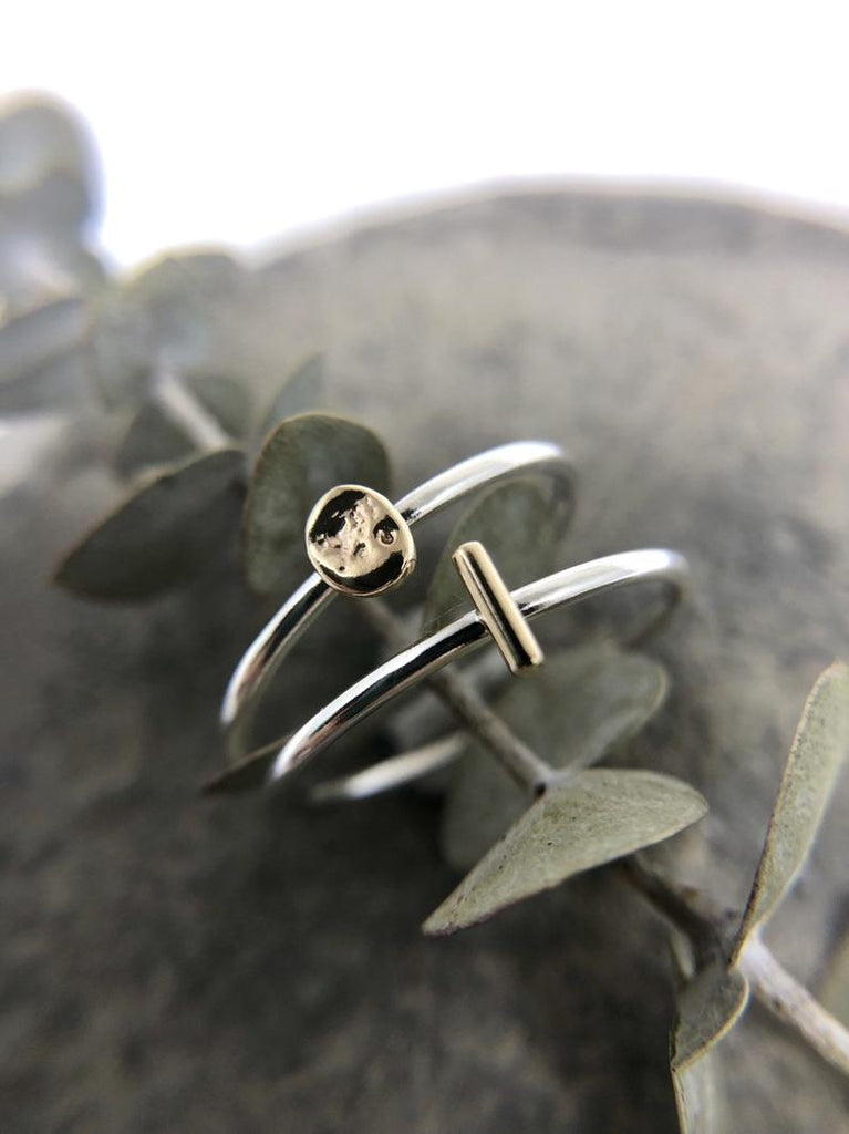 Mixed Metal Line Ring