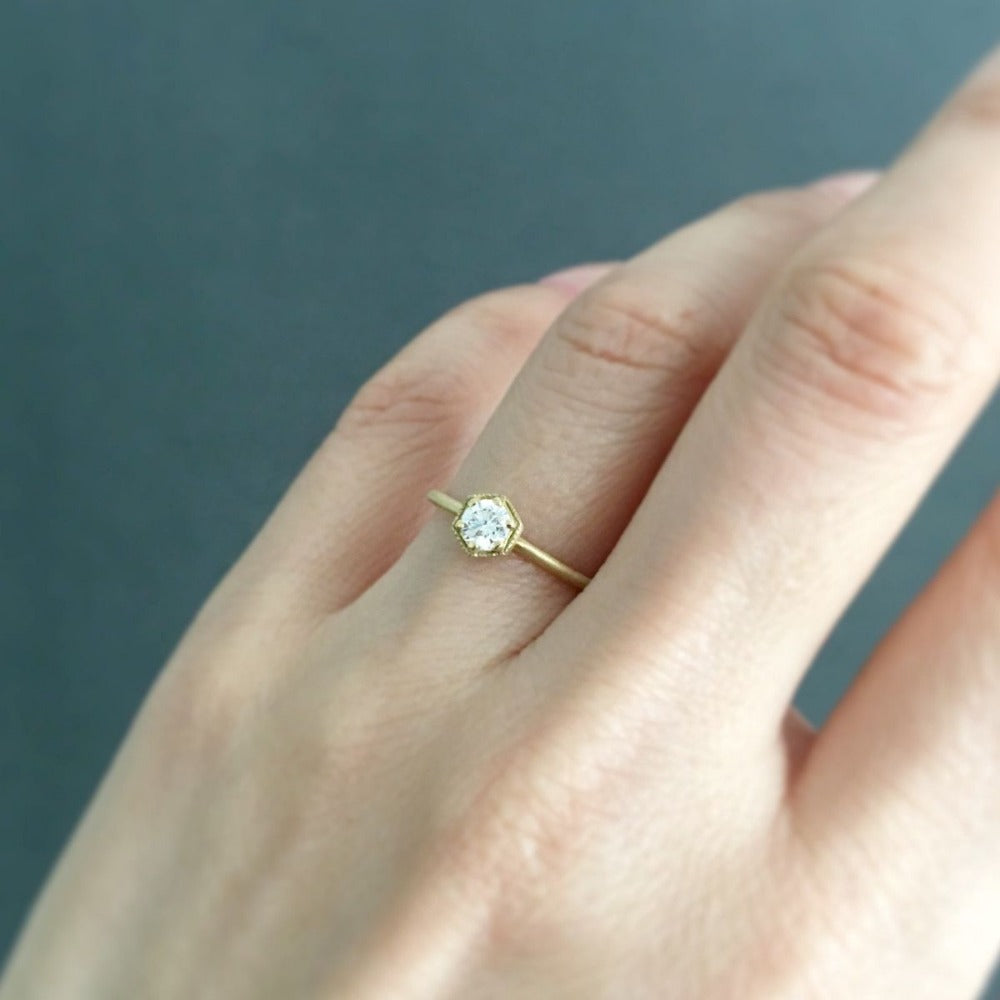 4mm White Diamond Hexagon Ring | Magpie Jewellery
