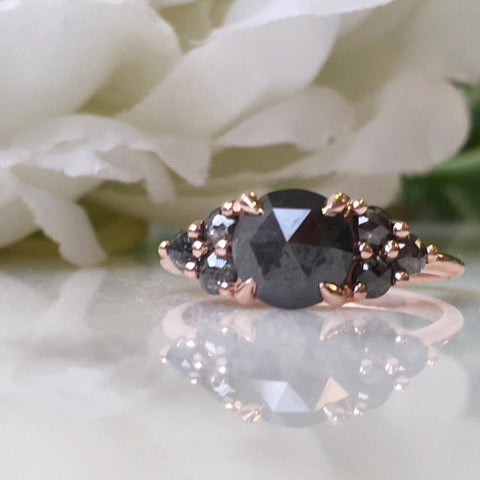 Black Diamond Cluster Engagement Ring