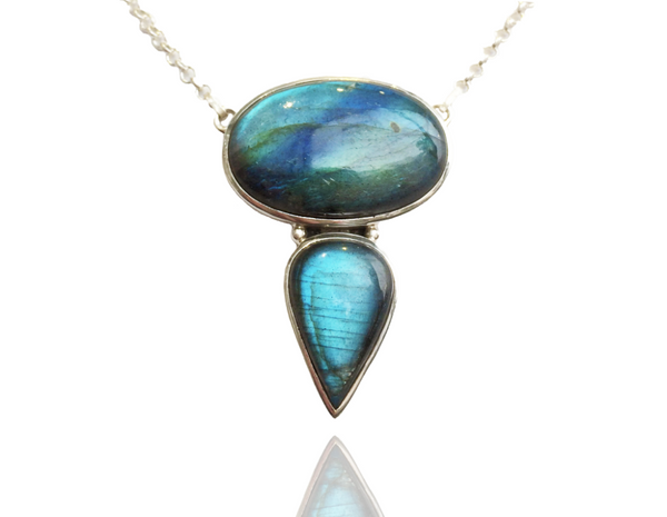Oval & Teardrop Labradorite Necklace
