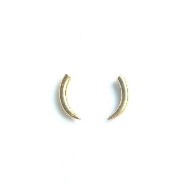 Tiny Silver Tusk Stud Earrings