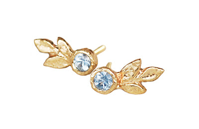 Triple Leaf Gold Earrings with Blue Sapphires | Magpie Jewellery