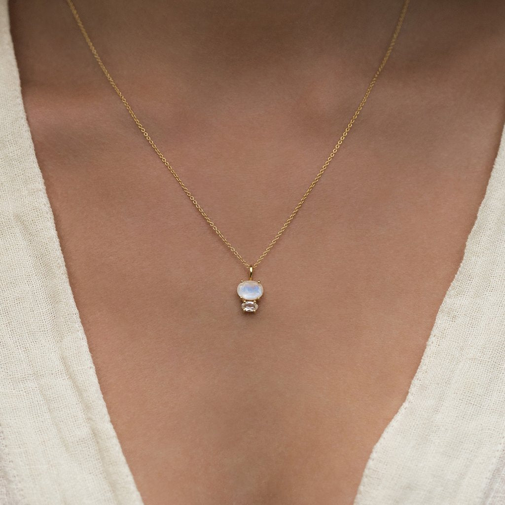 Bijou Necklace White Topaz  Moonstone