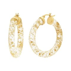 Lucite & 24k Gold Leaf Hoops 35mm