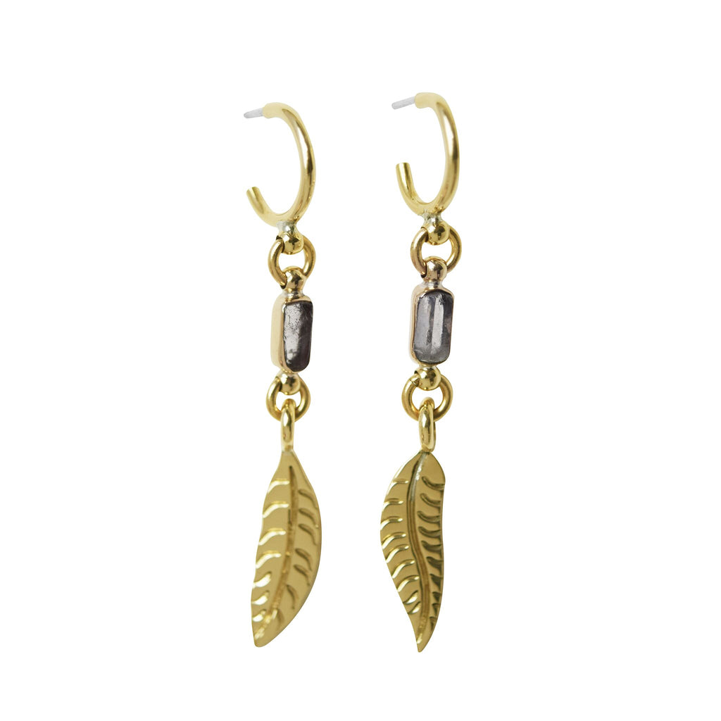 Feather Drop earrings with Clear Quartz