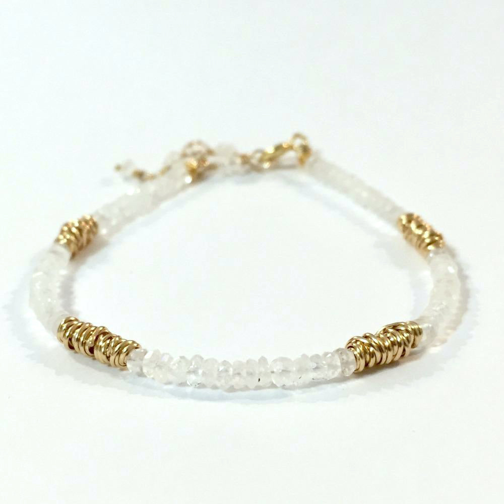 Gold Twist Stacking Bracelet | Magpie Jewellery | Yellow Gold | Moonstone
