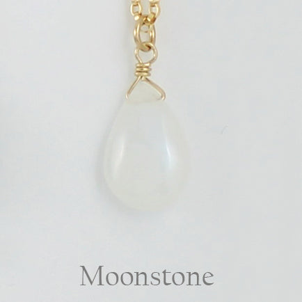 Gold Fill Gemstone Solo Necklace | Magpie Jewellery | Yellow Gold | Moonstone | Labelled