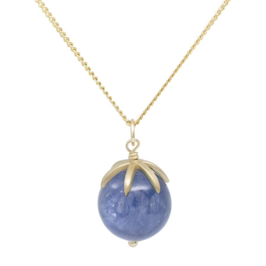 Gold Pendant Gemstone Sphere Necklace - Kyanite