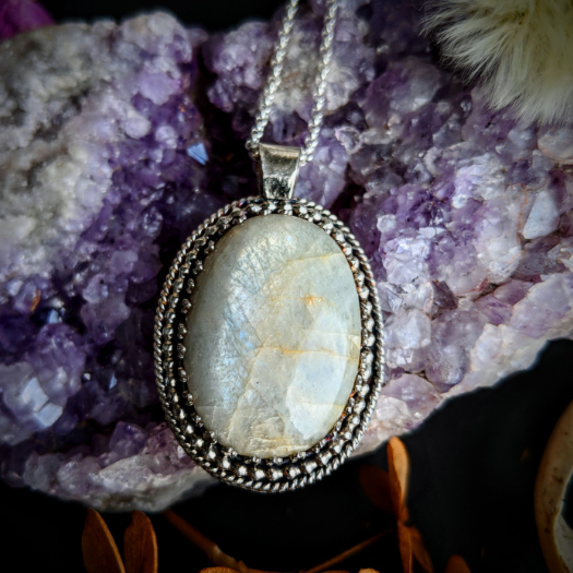 Oval Gemstone Necklace with Locally Mined Moonstone