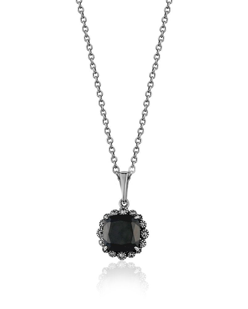 Black Spinel & Marcasite Halo Necklace