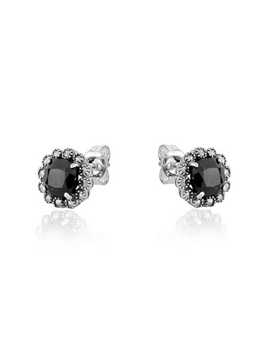 Black Spinel & Marcasite Halo Stud Earrings