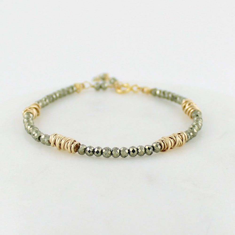 Gold Twist Stacking Bracelet | Magpie Jewellery | Yellow Gold | Pyrite