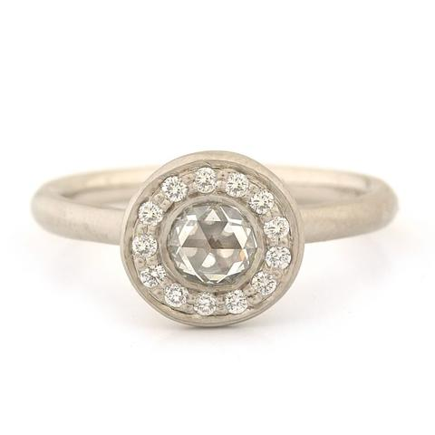 Rose Cut Halo Engagement Ring 14kw