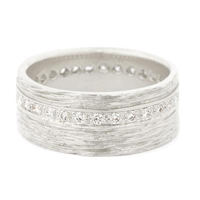 Platinum Wide Eternity Diamond Bark Texture Women's Band