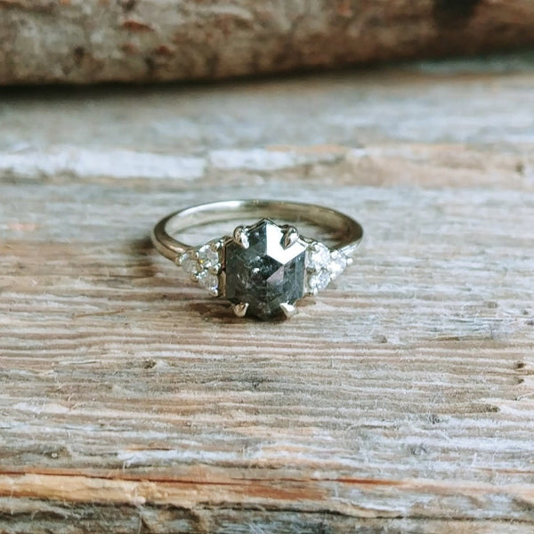 Salt & Pepper Hexagon Engagement Ring | Magpie Jewellery