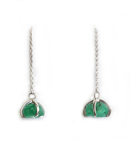 Raw Emerald Threader Earrings