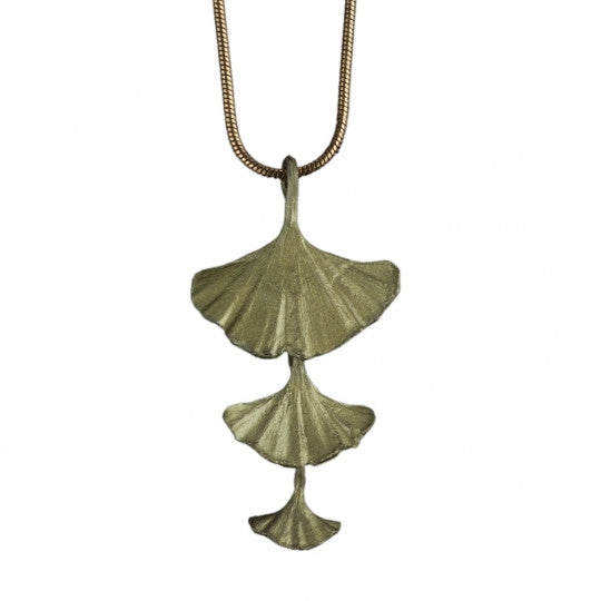 Triple Ginko Leaf Necklace
