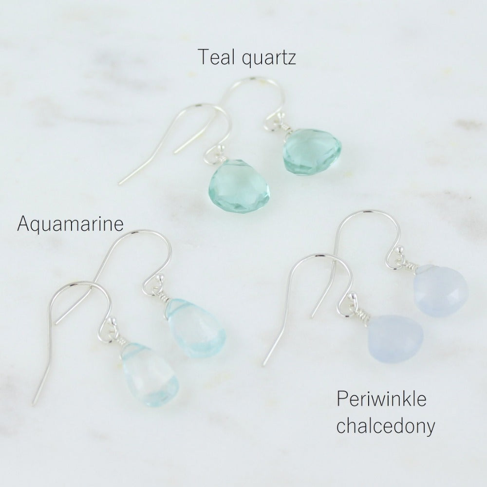 Gemstone Solo Earring | Magpie Jewellery | Silver | Teal Quartz | Perwinkle Chalcedony | Aquamarine | Stones Listed Clockwise | Labelled