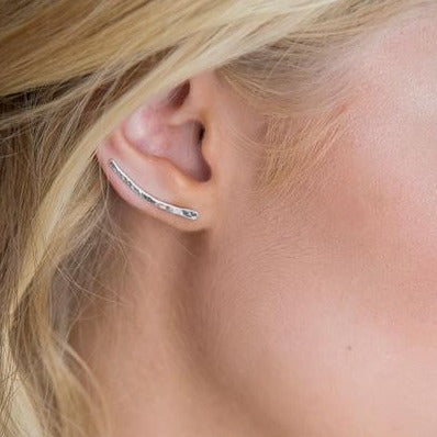 HAMMERED EAR CLIMBER SET - SILVER OR 14K GOLD-FILL