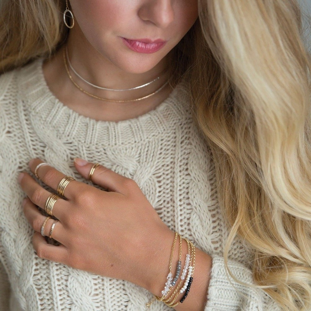 Textured Stacking Ring - Yellow Gold-Fill | Magpie Jewellery | On Model | Stacked