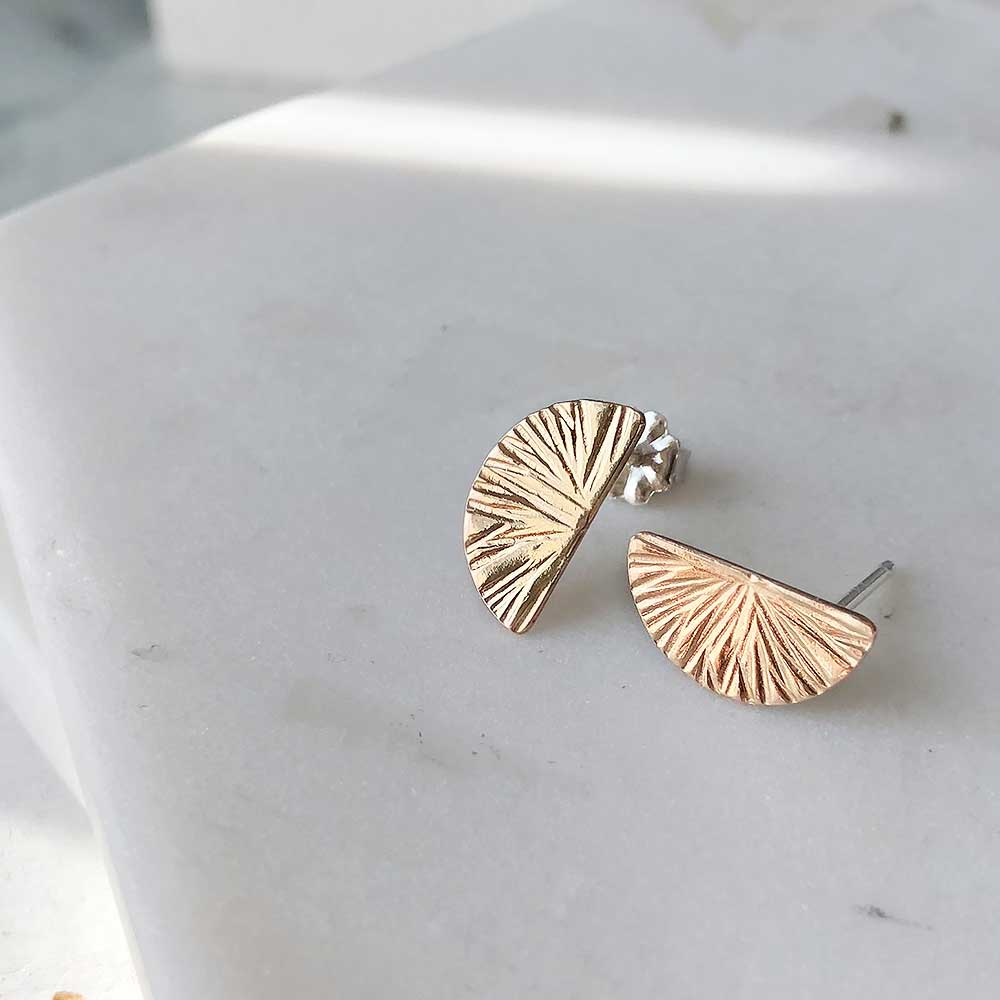 Textured Half Moon Stud Earring