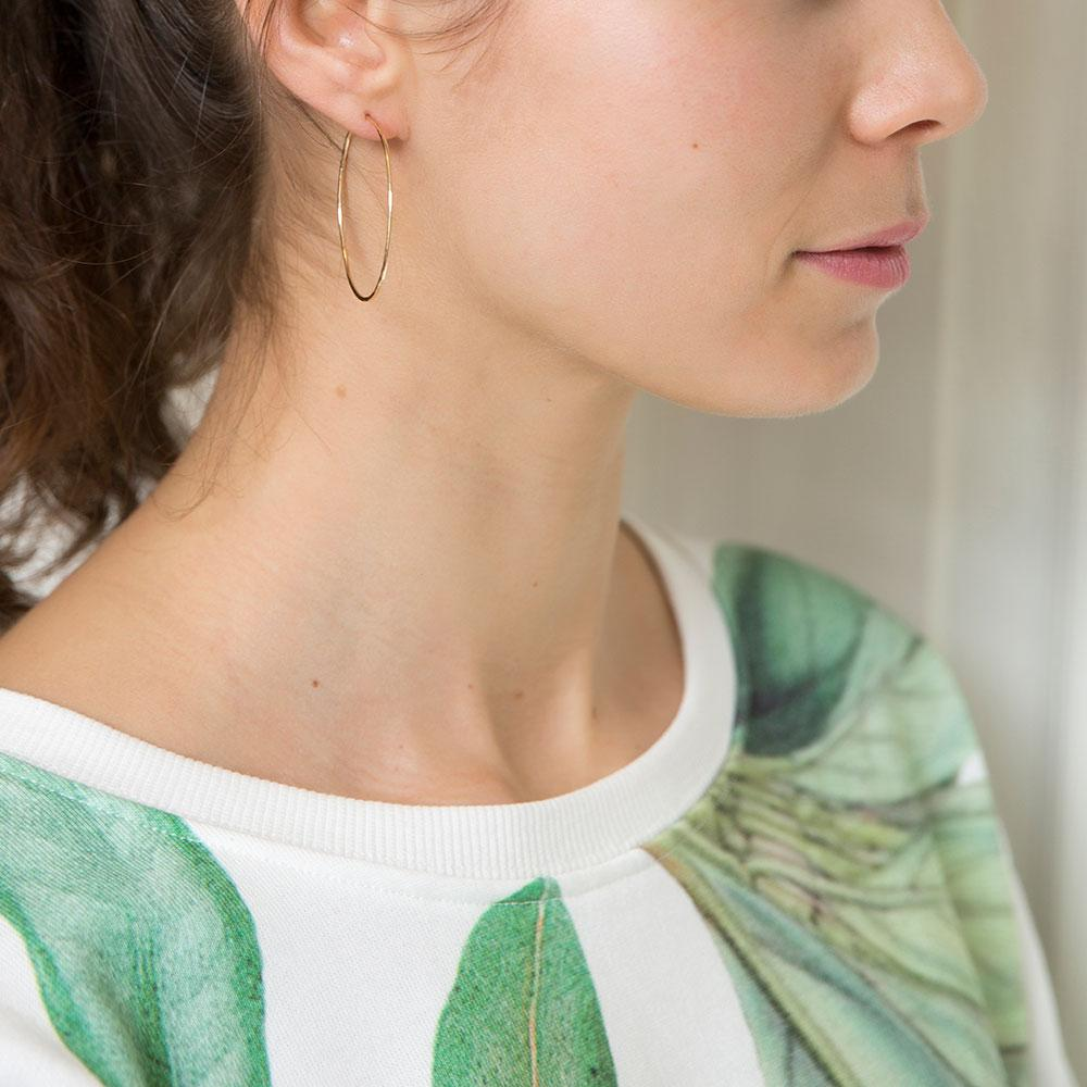 Hammered Round Hoops - 14k gold-fill or sterling silver | Magpie Jewellery
