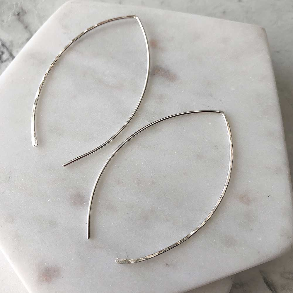 Hammered Leaf Hoops