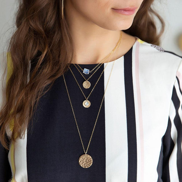 Small Medallion Necklace - Hammered | Magpie Jewellery | On Model | Layered