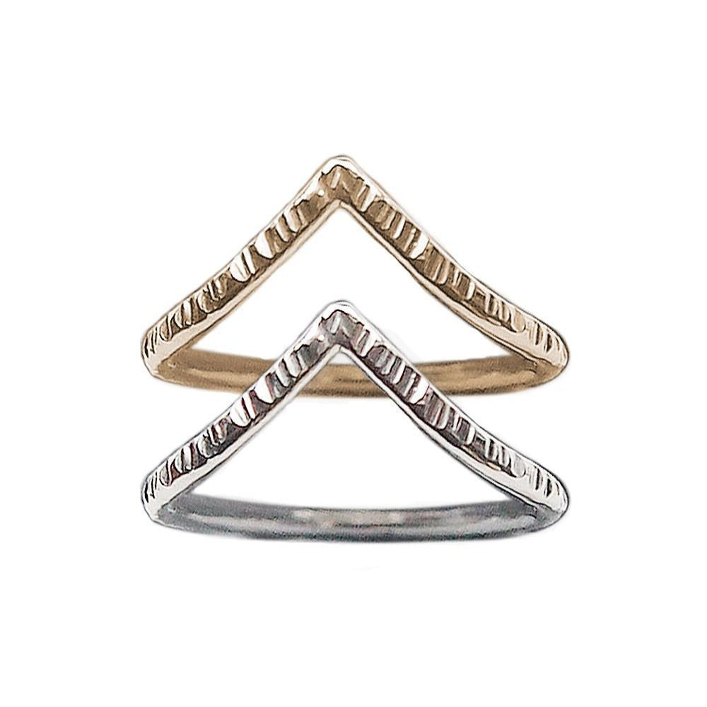 CHEVRON STACKING RING - FACETED TEXTURE | Magpie Jewellery