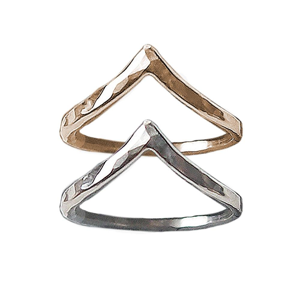 CHEVRON STACKING RING - HAMMERED TEXTURE