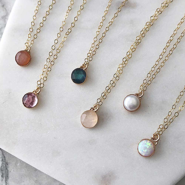 Petite Gemstone Necklace - 14k gold-fill