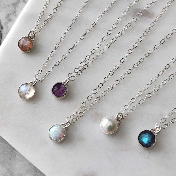 Petite Gemstone Necklace - Sterling silver
