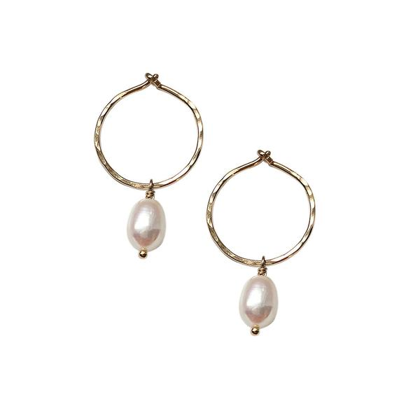 Small Pearl Hoops - 14k gold-fill or sterling silver