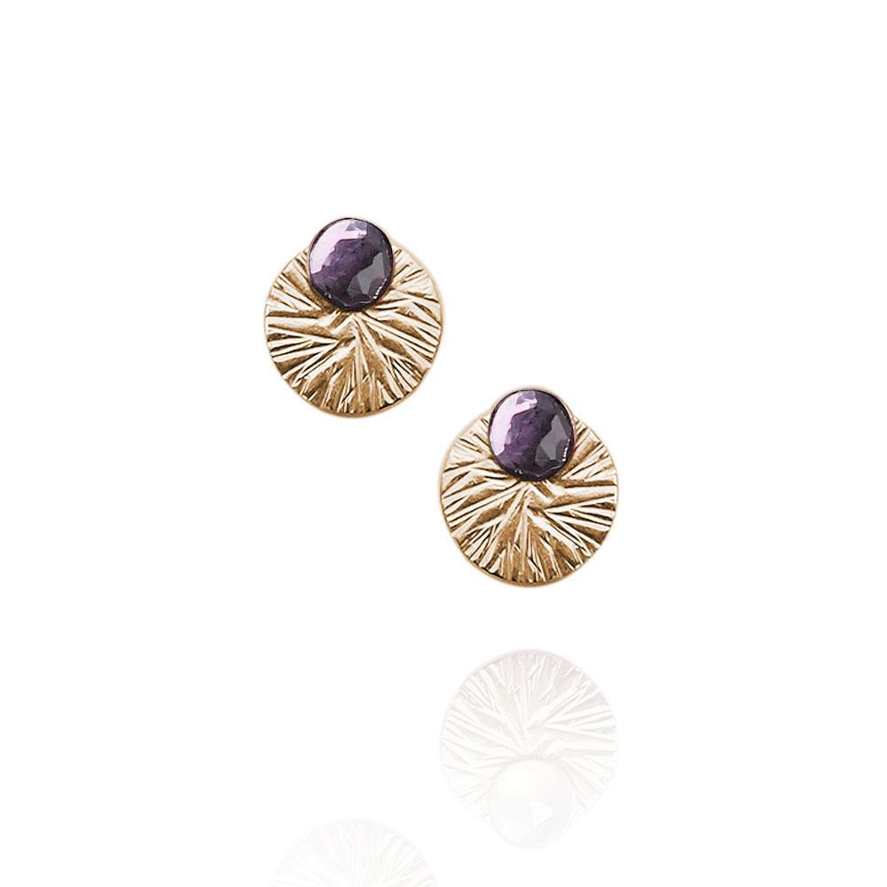 Gemstone Studs with Textured Circle Ear Jackets | Magpie Jewellery | Amethyst | Gold-Fill