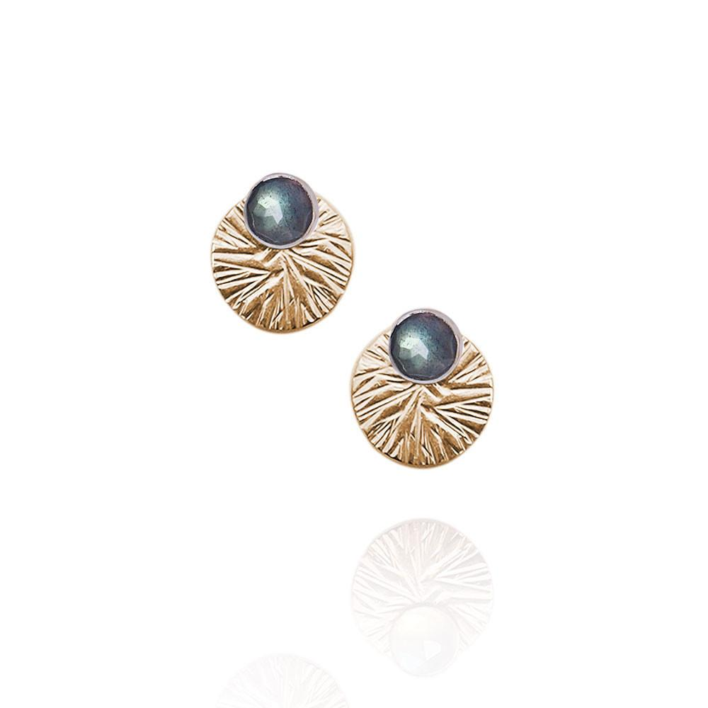 Gemstone Studs with Textured Circle Ear Jackets | Magpie Jewellery | Labradorite | Gold-Fill